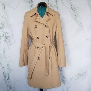 DKNY Tan Wool Blend Pea Coat